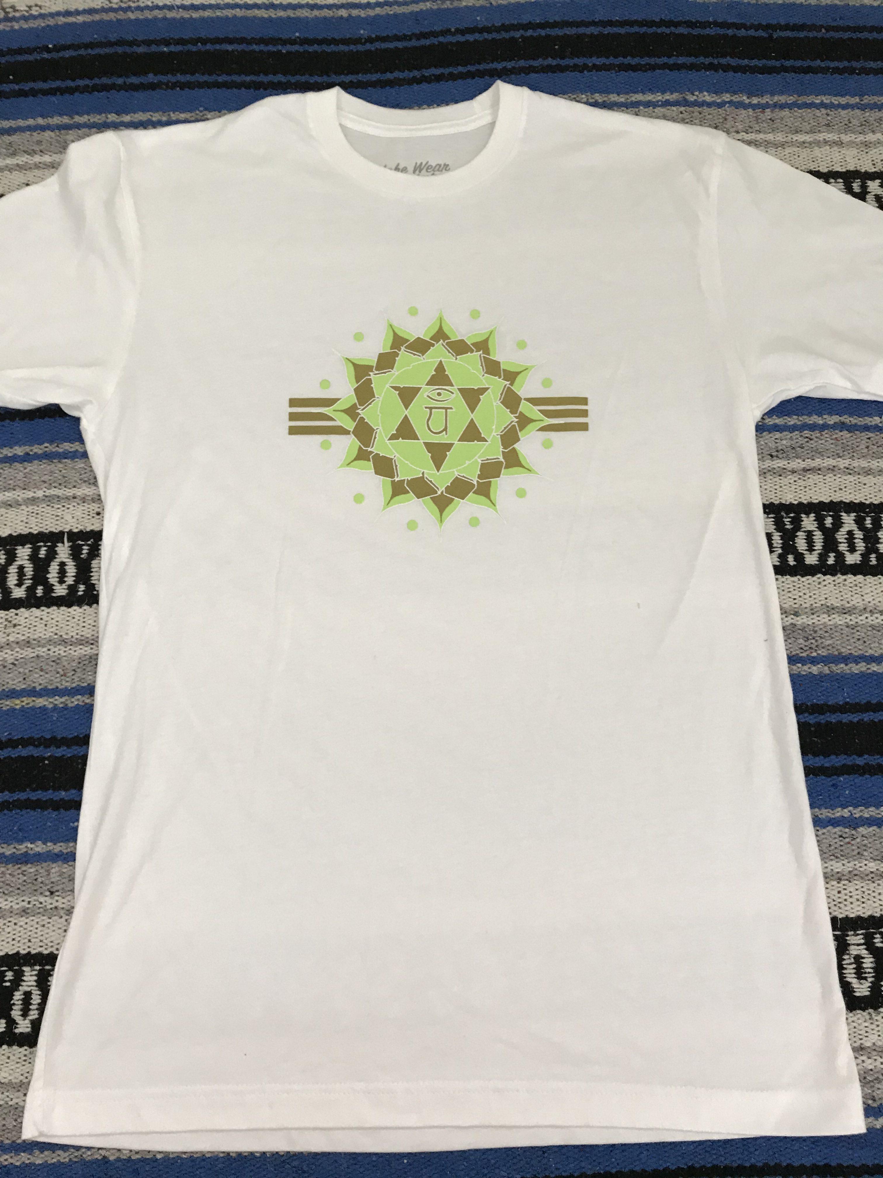 Heart Chakra rose quartz x shungite t-shirt print